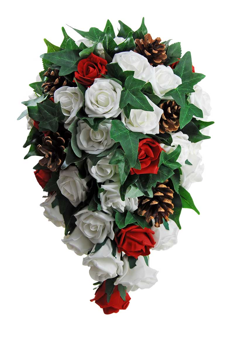 Christmas Pine Cone, Red & Ivory Rose Bridal Wedding Shower Bouquet