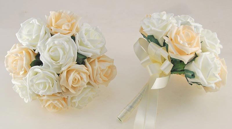 Cream and Ivory Rose Wedding Flower Package with Brides Bouquet, Bridesmaids Posies, Groom & Guest Buttonholes