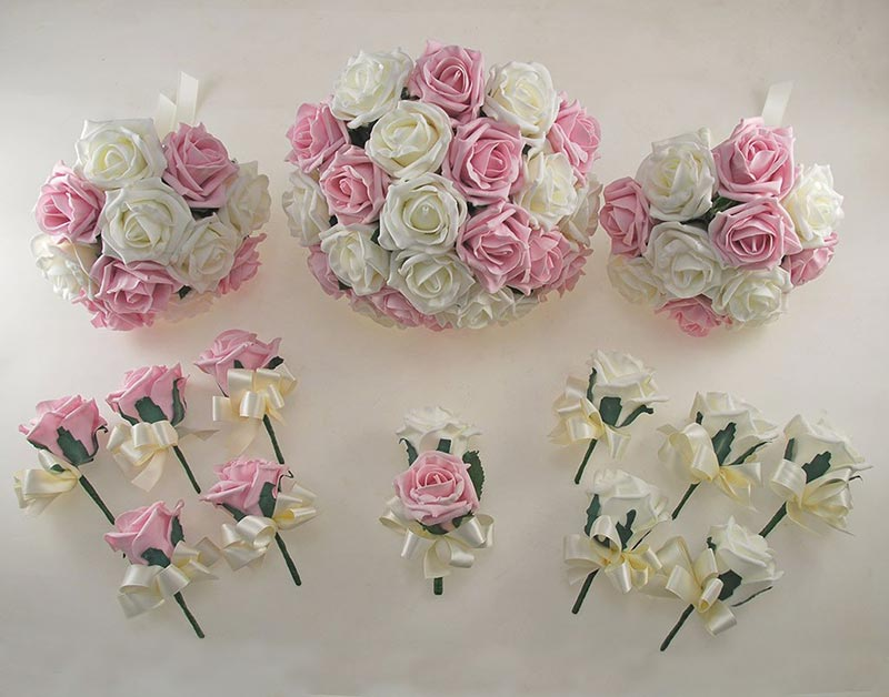 Dusky Pink and Ivory Rose Wedding Flower Package with Brides Bouquet, Bridesmaids Posies, Groom, Guest Buttonholes
