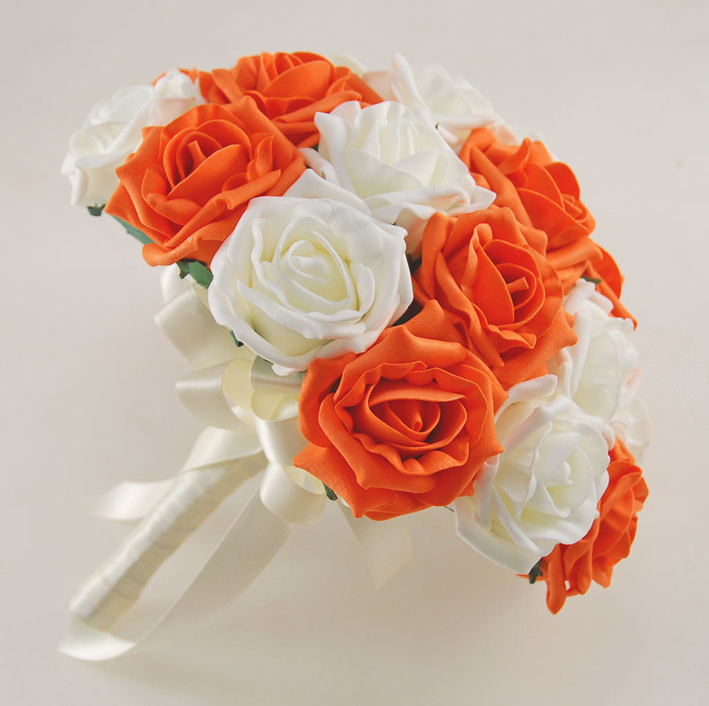 Orange And Ivory Rose Wedding Flower Package With Brides Bouquet