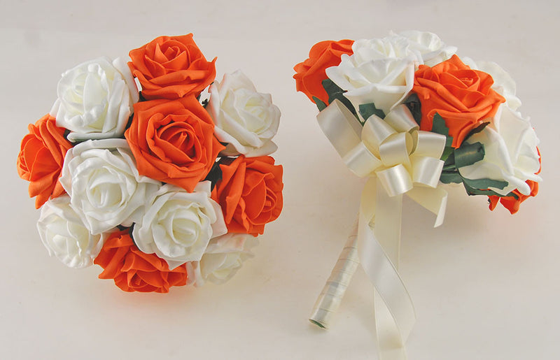 Orange and Ivory Rose Wedding Flower Package with Brides Bouquet, Bridesmaids Posies, Groom, Guest Buttonholes