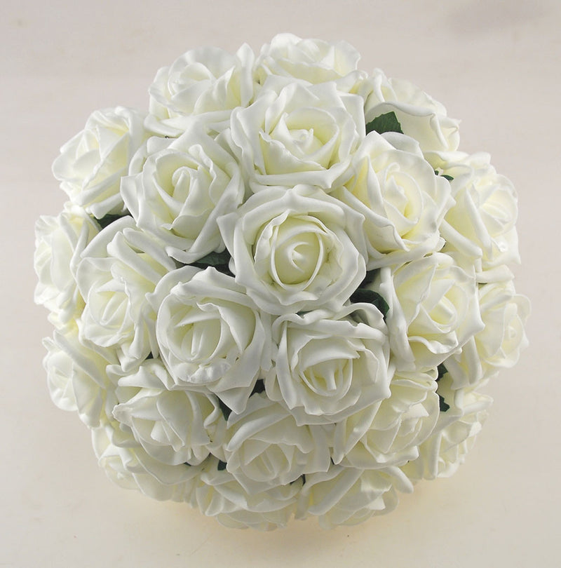 Ivory Foam Rose Wedding Flower Package with Brides Bouquet, Bridesmaids Posies, Groom & Guest Buttonholes