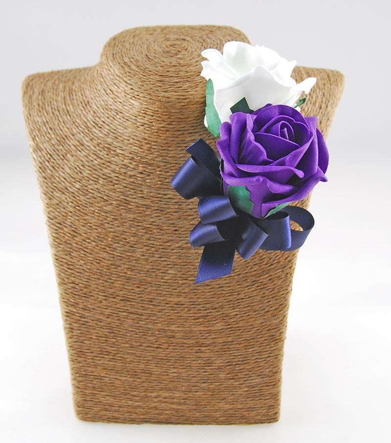 Classic Purple & Ivory Rose Wedding Flower Package with Navy Ribbon