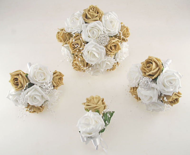 Coffee and White Diamante Foam Rose and Brooch Wedding Flower Package with Brides Bouquet, Bridesmaids Posies, Grooms Buttonhole