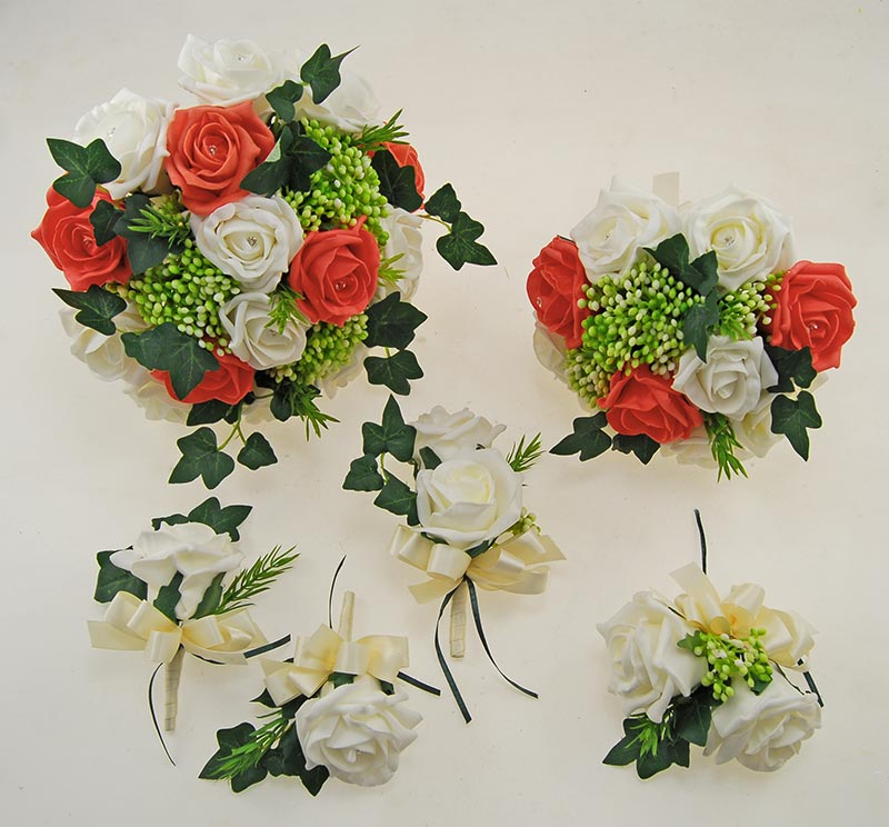 Ivory, Coral Diamante Rose, Green Berry & Ivy Agatha Wedding Package