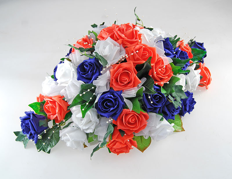 Coral, Navy, White Rose & Pearl Wedding Top Table Arrangement