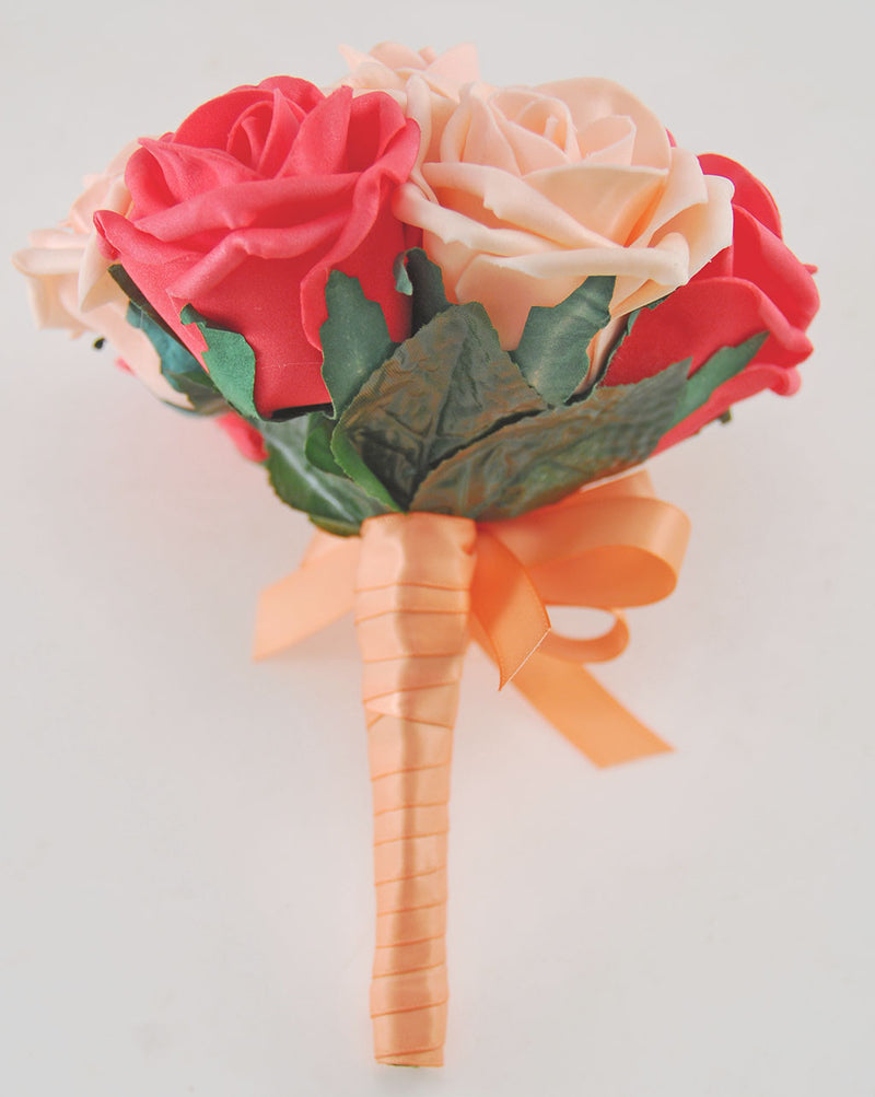 Coral & Peach Foam Rose Wedding Flower Girl Posy