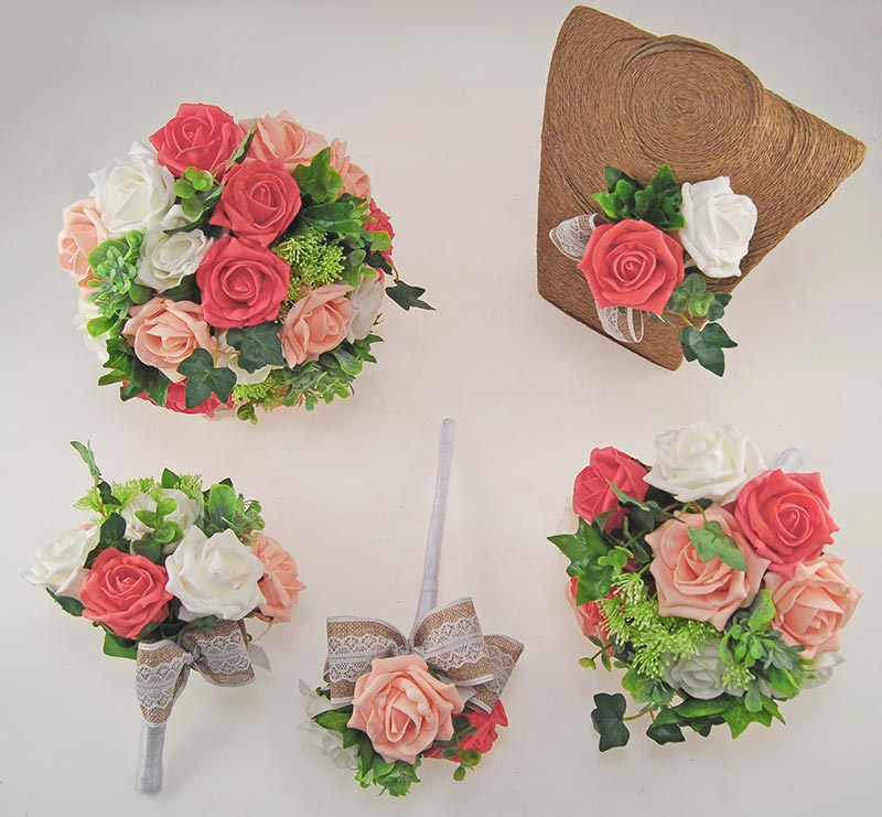 Coral & Peach Rose Hessian Lace Ribbon Amber Wedding Flower Package