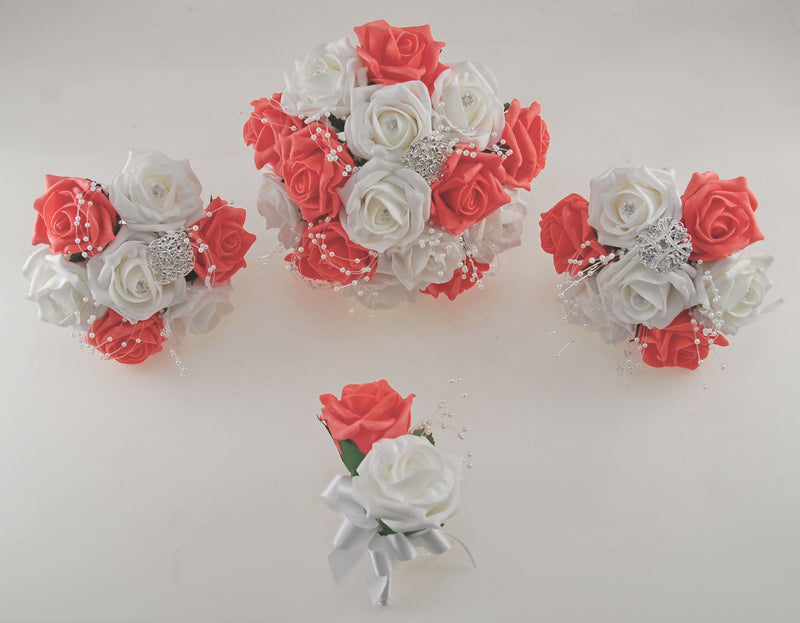 Coral and White Diamante Foam Rose and Brooch Wedding Flower Package with Brides Bouquet, Bridesmaids Posies, Grooms Buttonhole