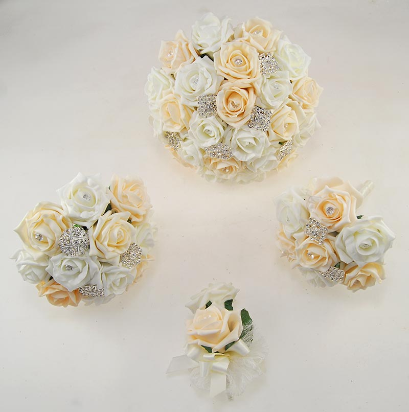 Cream & Ivory Foam Rose Classic Diamante Brooch Wedding Flower Package