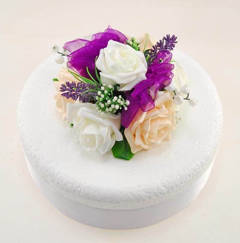 Cream & Ivory Rose Wedding Cake Topper with Lavender