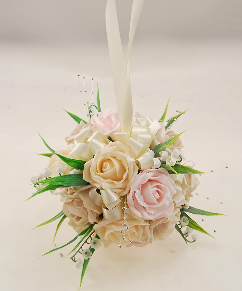 Cream, Pink, Mocha Foam Rose & Lily of the Valley Pomander Flower Ball