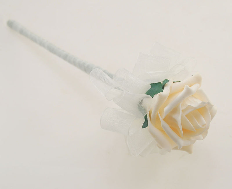 Cream and Ivory Foam Rose Wedding Shower Package with Brides Shower Bouquet, Bridesmaids Posy, Young Maids   Posy, Flower Girl Wand & Grooms Buttonhole