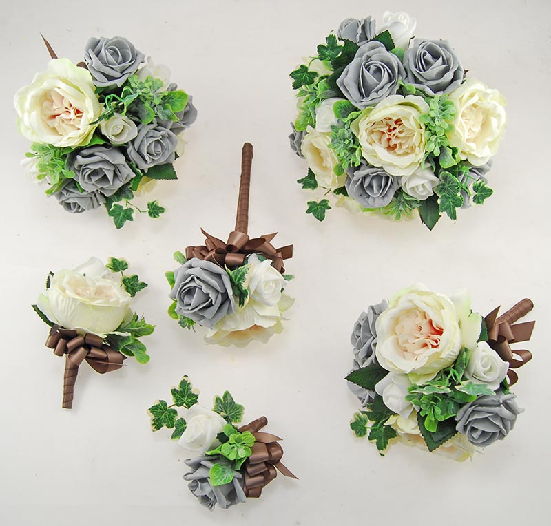Dark Grey Yazmin Cottage Rose & Green Herb Wedding Flower Package