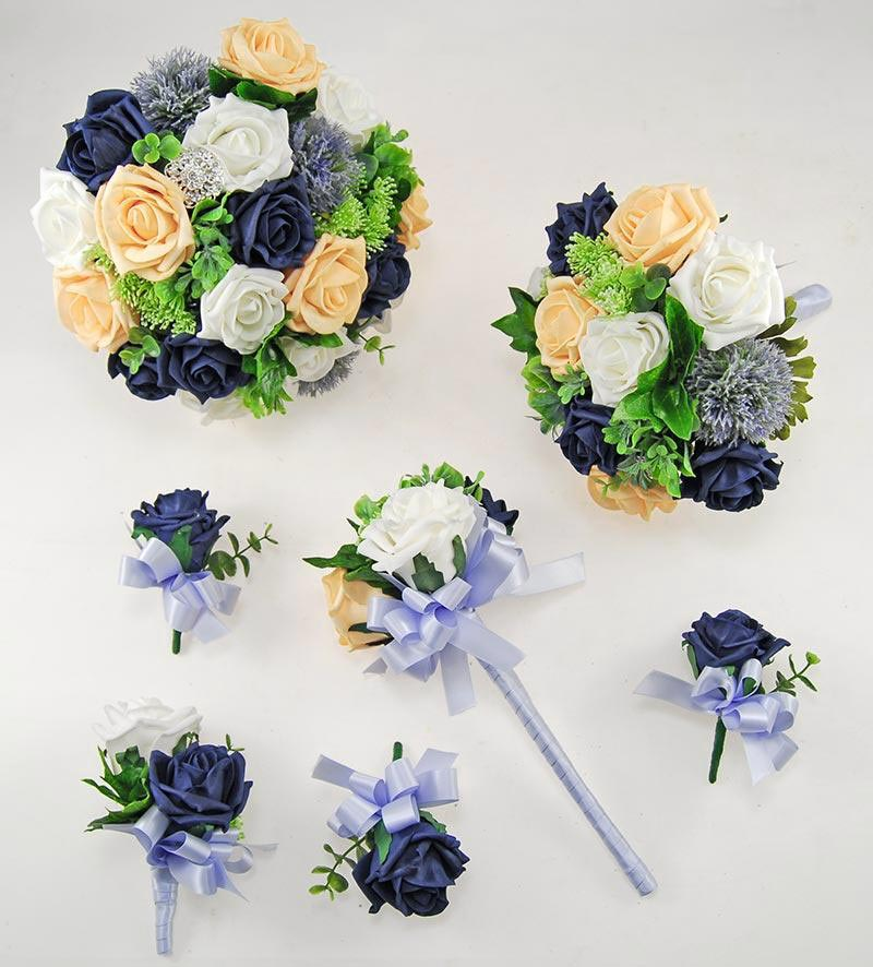 Navy & Mango Foam Rose Molly Foliage Wedding Flower Package
