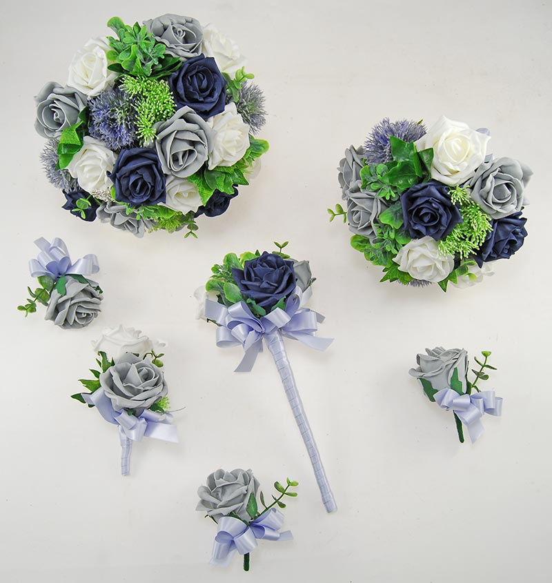 Dark Navy & Grey Foam Rose Molly Foliage Wedding Flower Package
