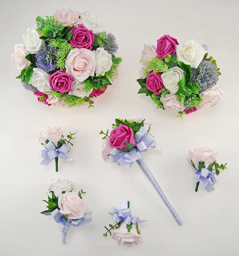 Cerise Pink & Pale Pink Rose Molly Foliage Wedding Flower Package