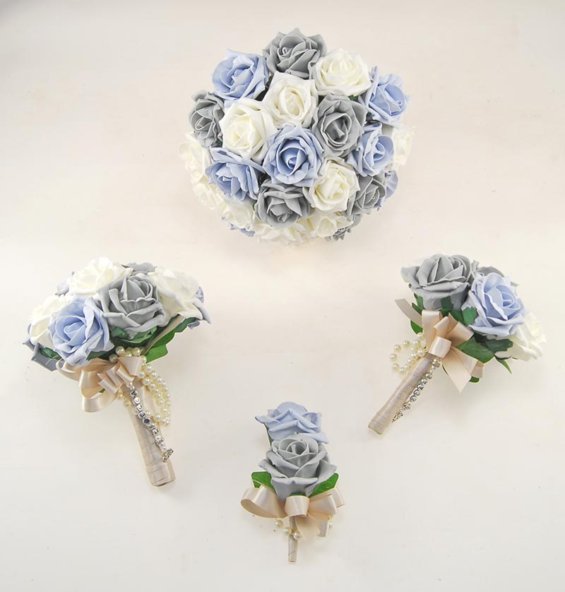Dark Grey, Blue & Ivory Foam Rose Handle Name Charm Wedding Vanessa Package