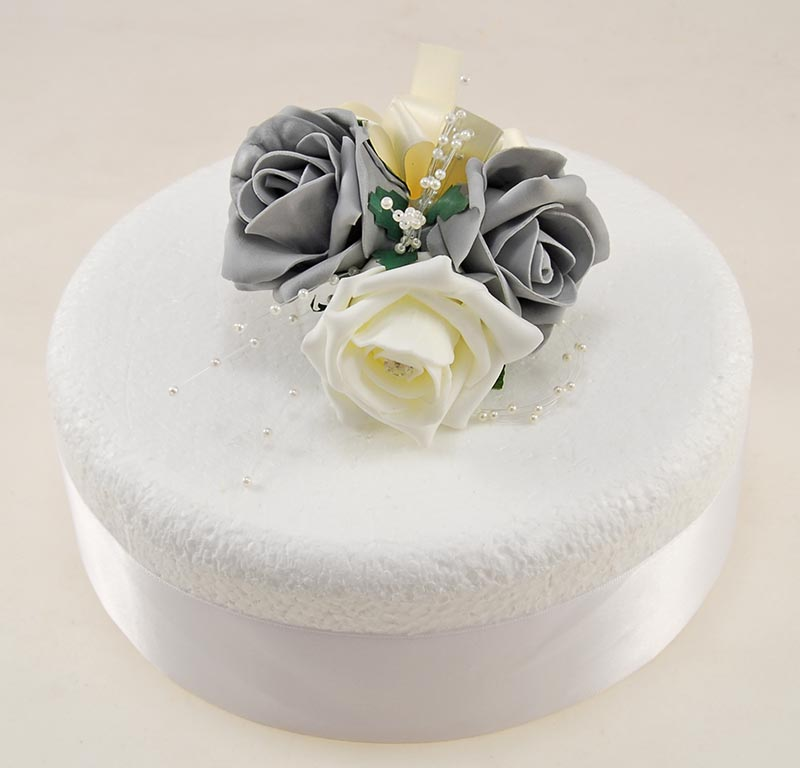 Dark Grey, Ivory Foam Rose & Pearl Wedding Cake Spray