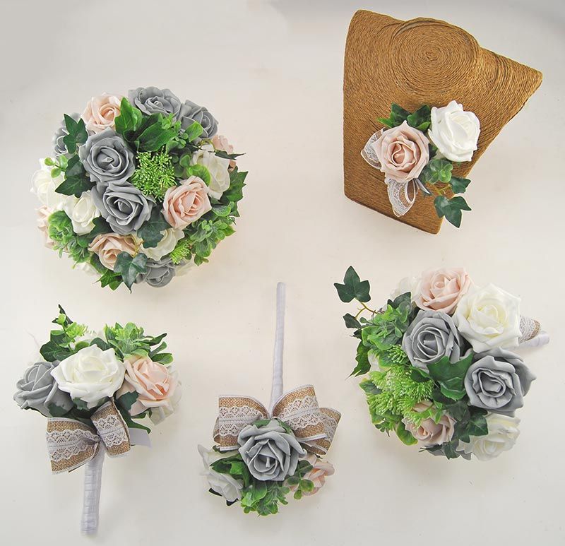 Dark Grey & Pink Mocha Rose Hessian Lace Ribbon Amber Wedding Flower Package