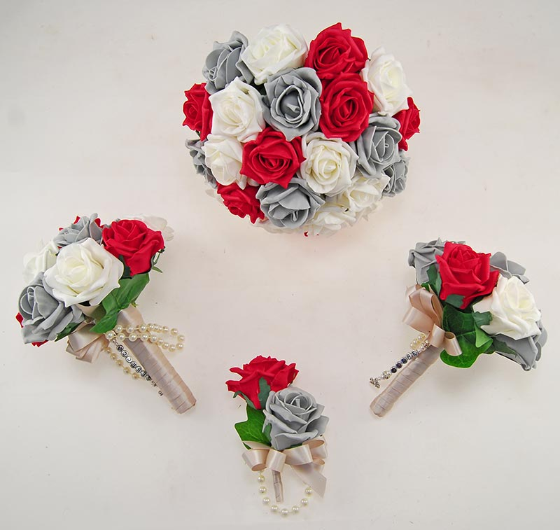 Dark Grey, Red & Ivory Foam Rose Handle Name Charm Wedding Vanessa Package