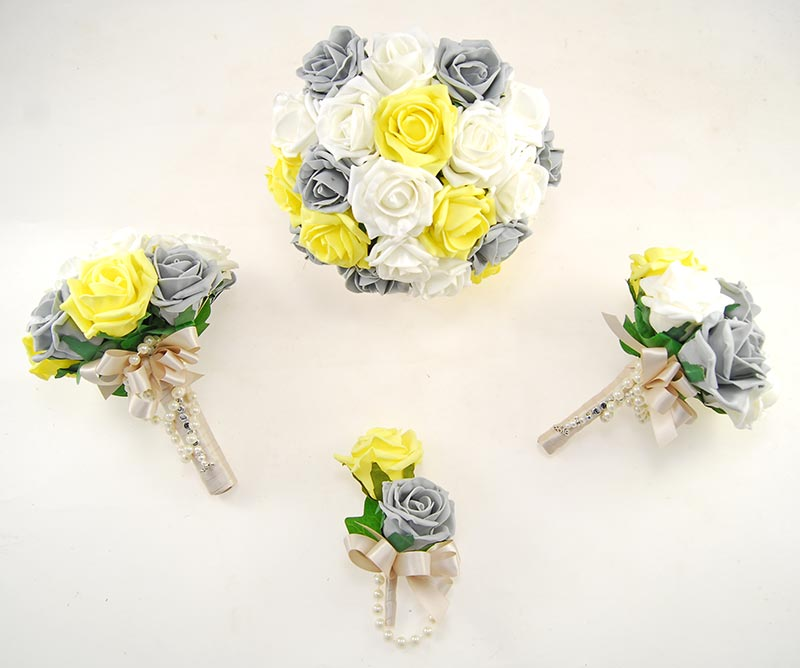 Dark Grey, Yellow & Ivory Foam Rose Handle Name Charm Wedding Vanessa Package