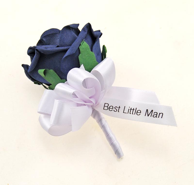 Dark Navy Blue Rose Wedding Buttonhole with Printed Ribbon