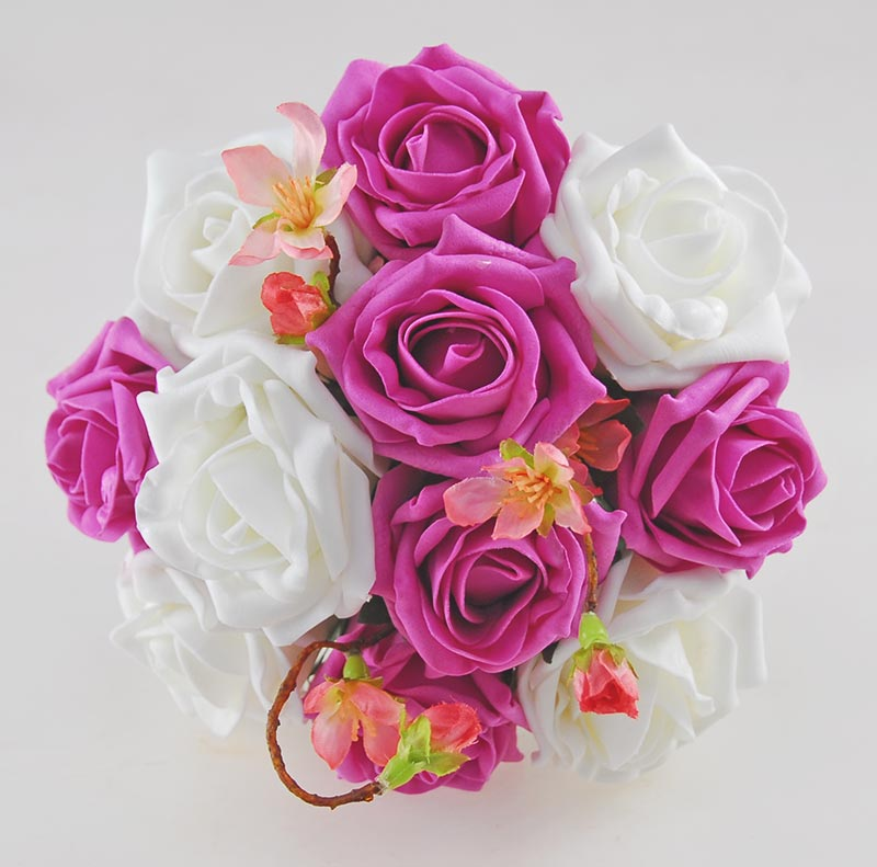 Dark Pink Wedding Flowers: Dark Pink & Ivory Rose Bridesmaids Wedding Posy With