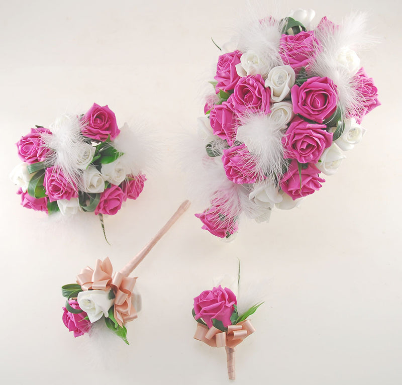Rebecca Shower Package in Ivory Diamante Roses, Ivory Feathers & Cerise Pink Roses
