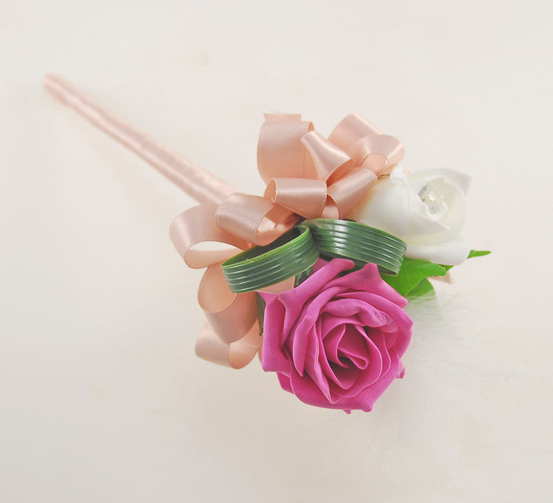 Rebecca Shower Package in Ivory Diamante Roses, Ivory Feathers and Dark Pink Roses