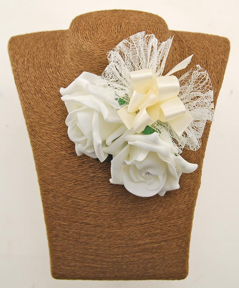 Double Ivory Diamante Foam Rose Wedding Day Mothers Pin Corsage