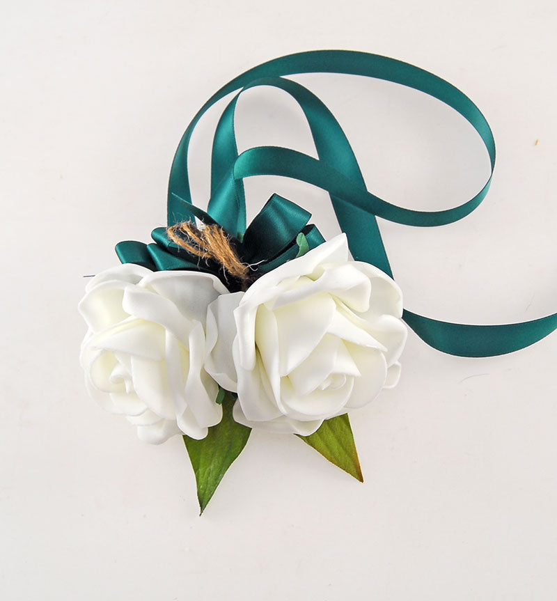 Double Ivory Rose Ribbon Tied Wrist Corsage with Dark Green Ribbon