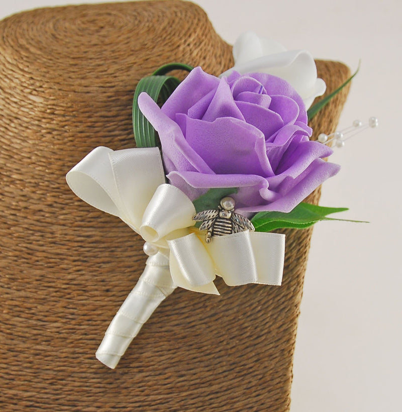 Double Lilac & Ivory Rose Buttonhole with Bee Charm