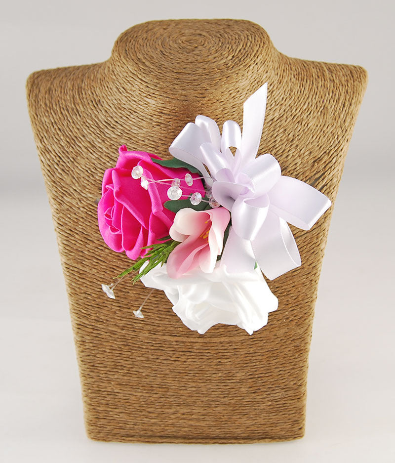 Double Rose & Pink Silk Freesia Wedding Day Mothers Corsage
