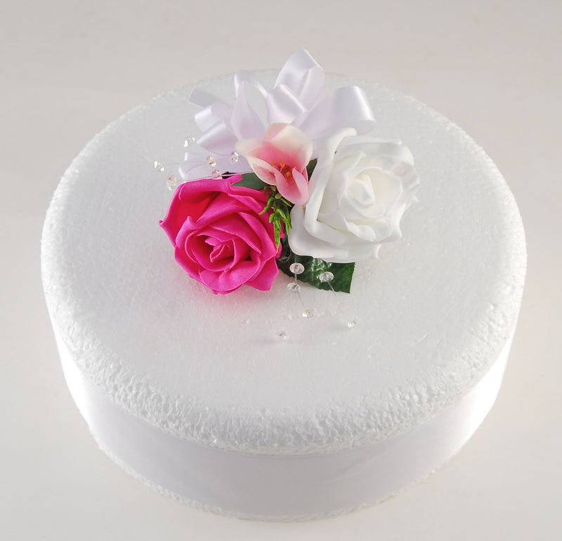 Double Rose & Silk Pink Freesia, Rosemary & Crystal Wedding Cake Spray