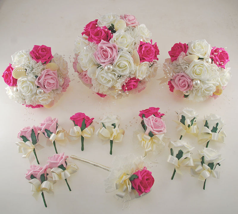 Pink and Ivory Foam Rose, Seashell and Pearl Wedding Flower Package with Brides Bouquet, Bridesmaids Posies, Grooms, Mothers, Guest Buttonholes