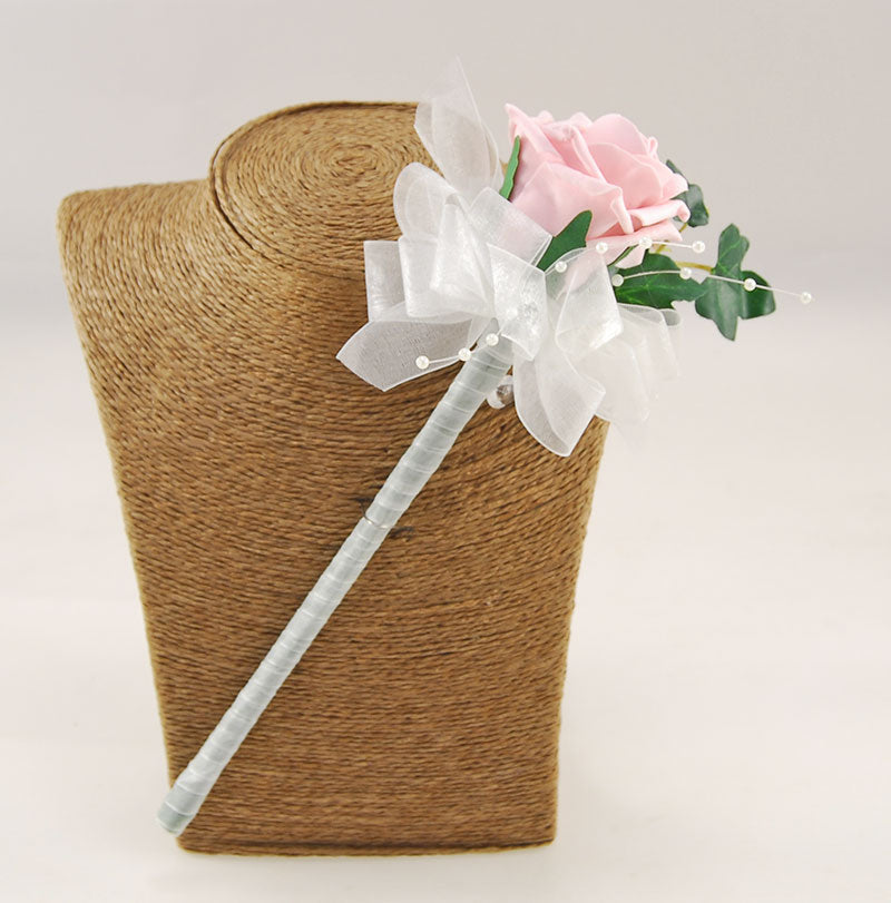 Dusky Pink Rose & Pearl Spray Ivy Flower Girl Wedding Wand