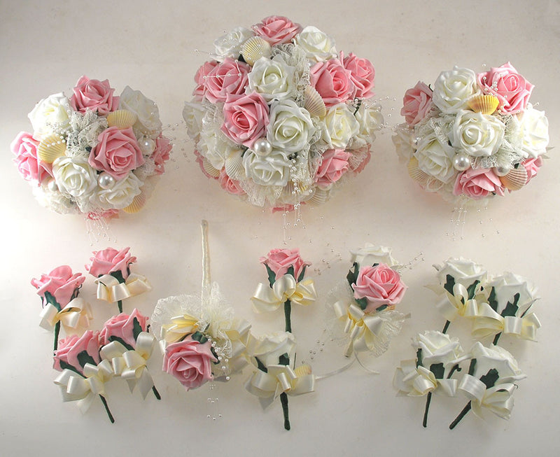 Dusky Pink and Ivory Foam Rose, Seashell and Pearl Wedding Flower Package with Brides Bouquet, Bridesmaids Posies, Grooms, Mothers, Guest Buttonholes