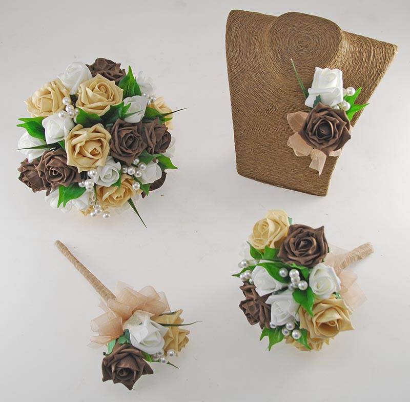 Chocolate Brown, Pale Gold and Ivory Rose Pearl Ball Emma Wedding Flower Package