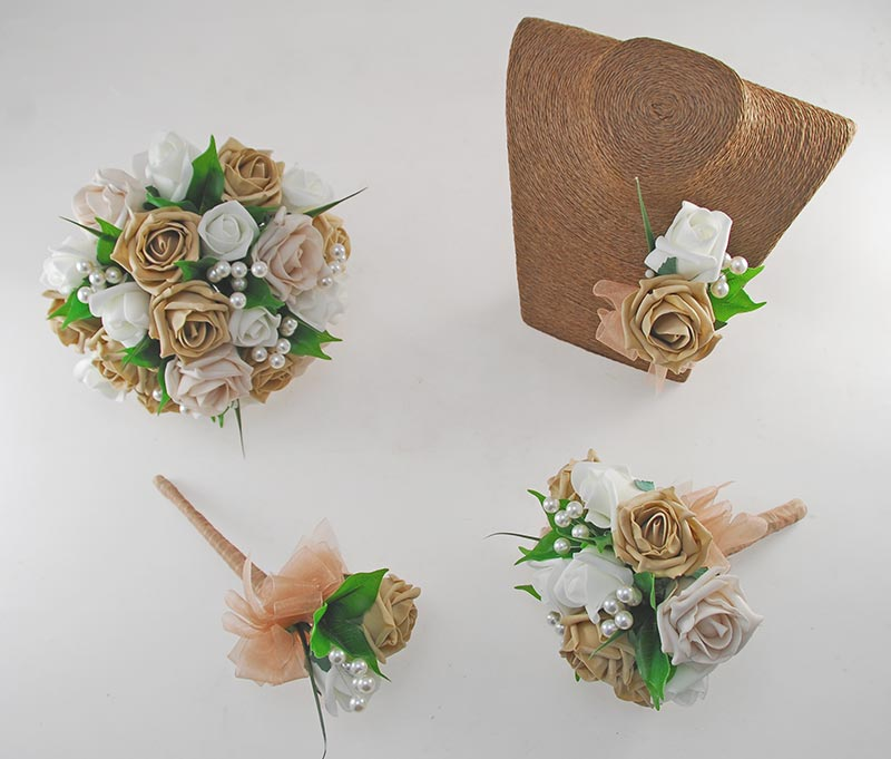 Emma Coffee, Mocha and Ivory Rose Pearl Ball Wedding Flower Package