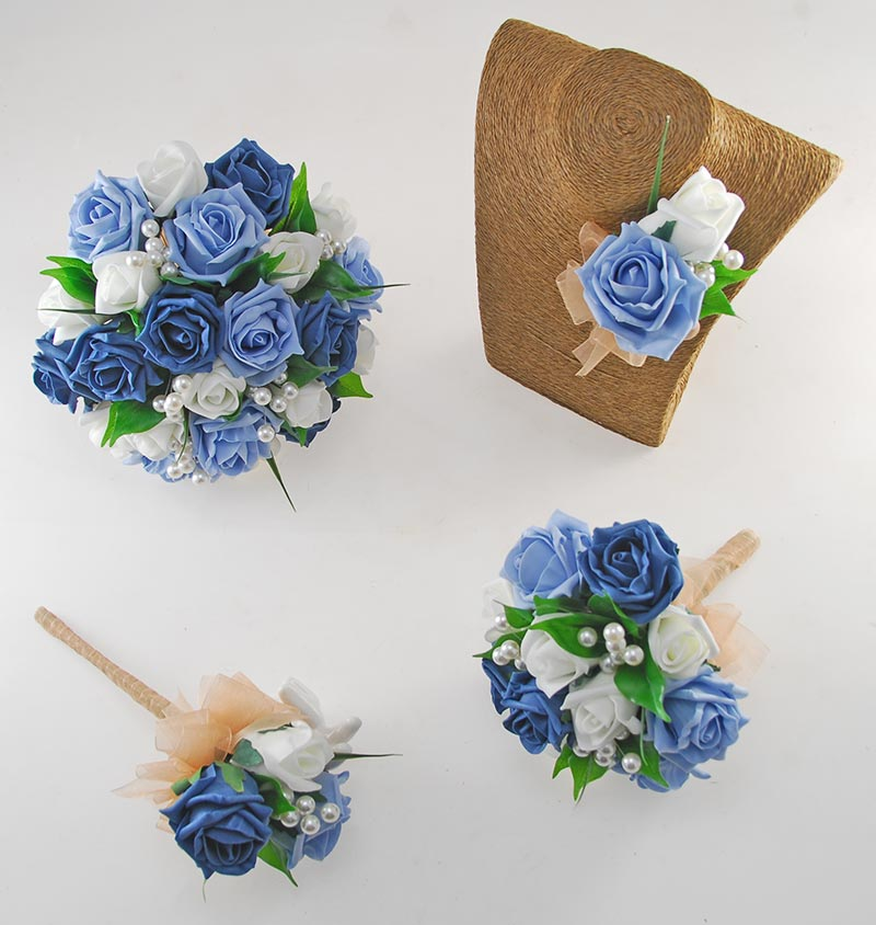 Emma Light Blue, Teal and Ivory Rose Pearl Ball Wedding Flower Package