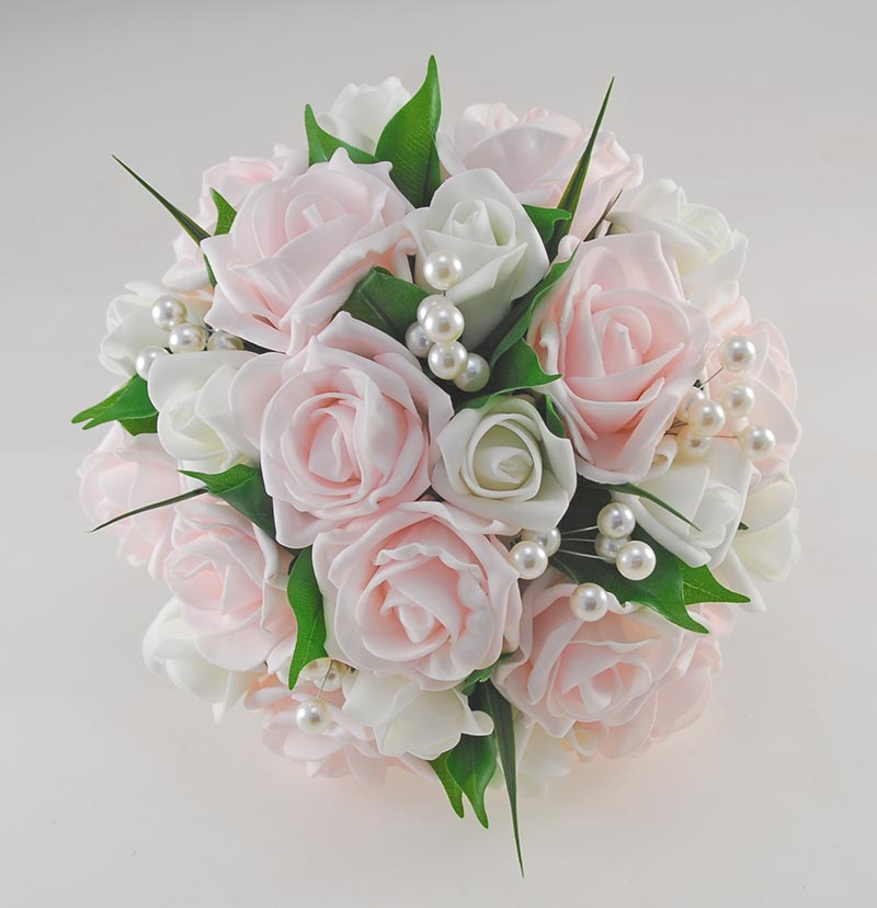 Emma Light Pink & Ivory Rose Pearl Ball Wedding Flower Package