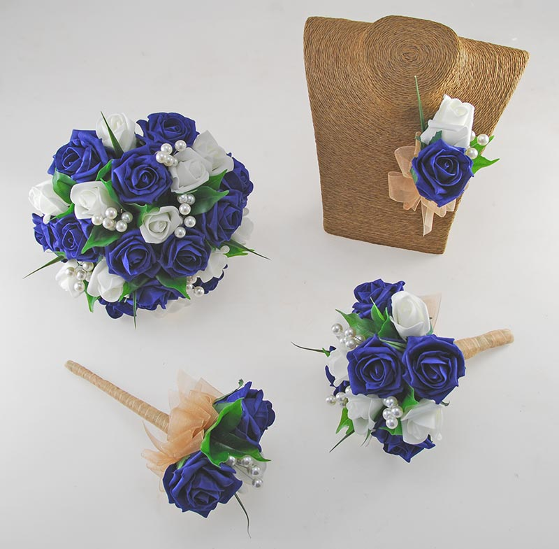 Emma Navy Blue & Ivory Rose Pearl Ball Wedding Flower Package