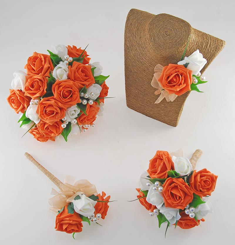Emma Orange & Ivory Rose Pearl Ball Wedding Flower Package
