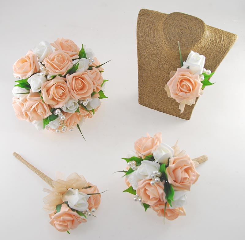 Emma Peach and Ivory Rose Pearl Ball Wedding Flower Package
