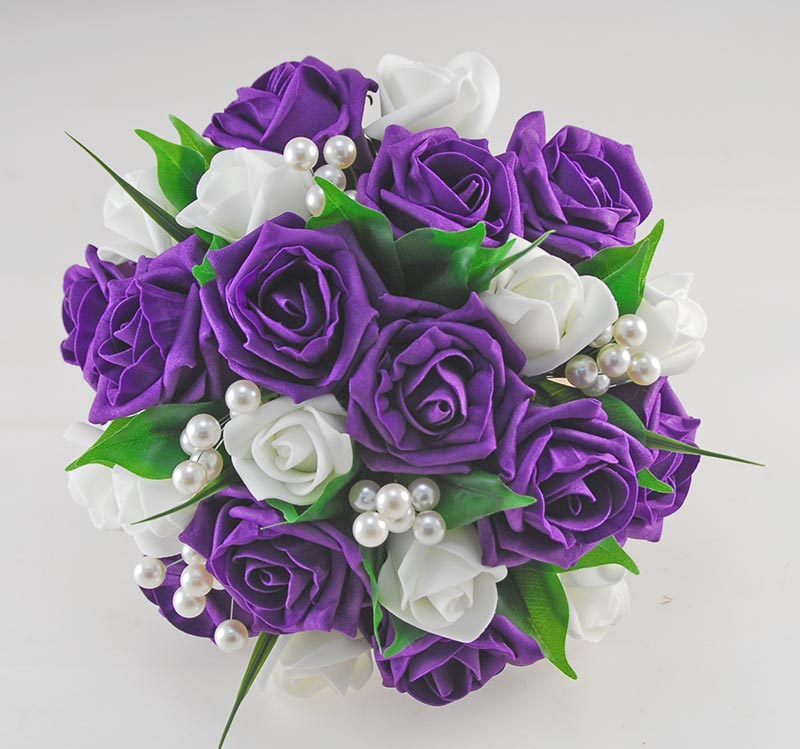 Emma Purple and Ivory Rose Pearl Ball Wedding Flower Package