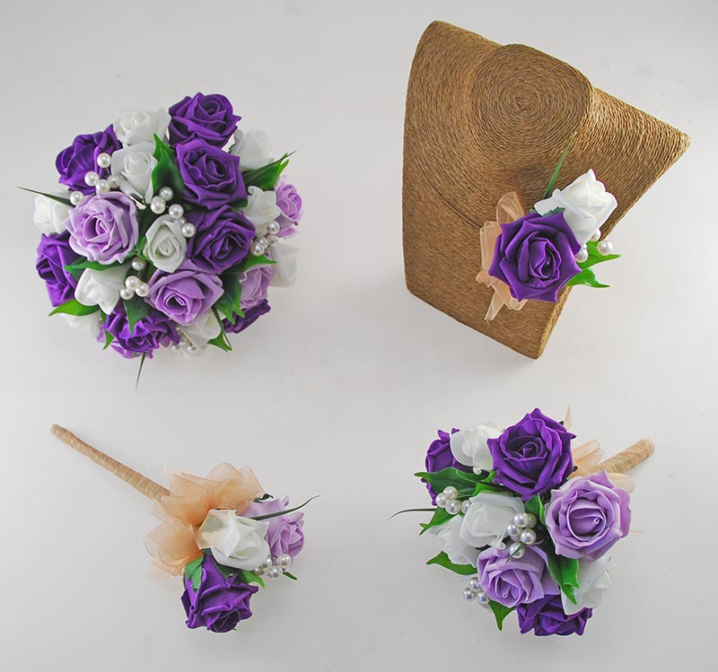 Emma Purple, Lilac and Ivory Rose Pearl Ball Wedding Flower Package