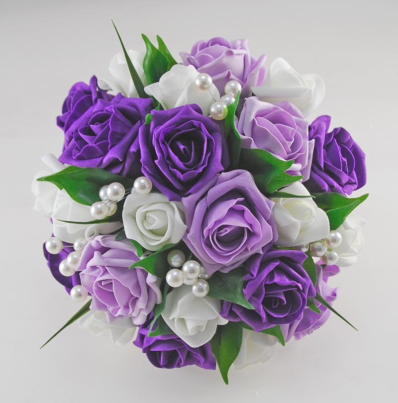 Wedding Flowers Lilac: Emma Purple, Lilac And Ivory Rose Pearl Ball Wedding