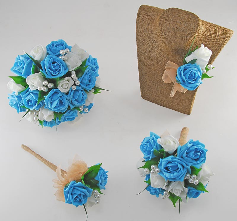 Emma Turquoise & Ivory Rose Pearl Ball Wedding Flower Package