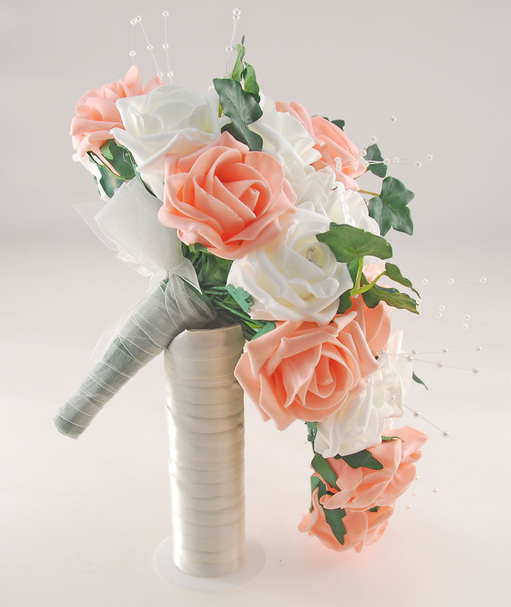 Ivory peach rose evie wedding shower package brides shower ivory peach rose evie wedding shower package brides shower bridesmaids bouquet flower girl posy wand grooms buttonhole izmirmasajfo